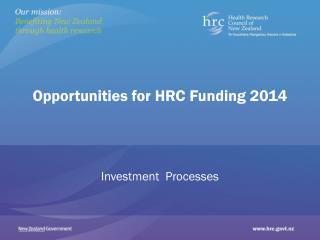Opportunities for HRC Funding 2014
