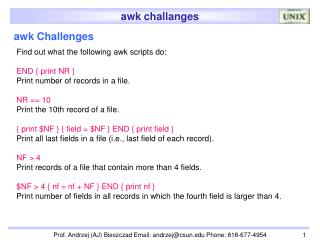 awk Challenges