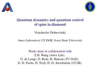 Quantum dynamics and quantum control of spins in diamond Viatcheslav Dobrovitski