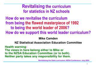 Revitalising  the curriculum for statistics in NZ schools