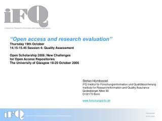 """Open access and research evaluation"" Thursday 19th October"