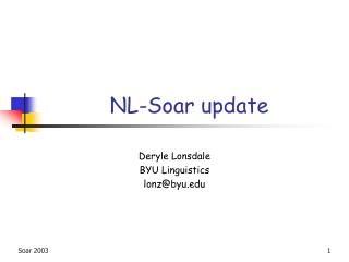 NL-Soar update