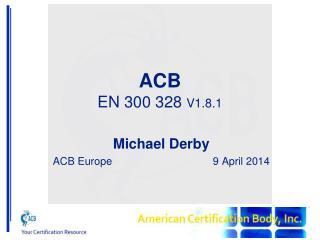 ACB EN 300 328  V1.8.1