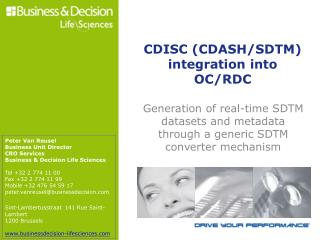 CDISC (CDASH/SDTM) integration into OC/RDC