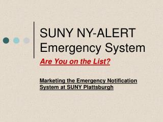 SUNY NY-ALERT Emergency System