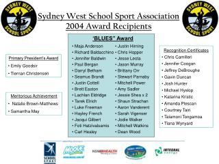 Sydney West School Sport Association 2004 Award Recipients
