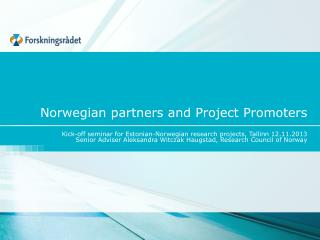 Norwegian partners and Project Promoters