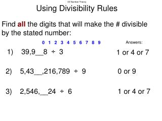 02 Number Theory Using Divisibility Rules
