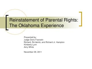 Reinstatement of Parental Rights:  The Oklahoma Experience
