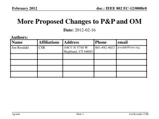 More Proposed Changes to P&P and OM