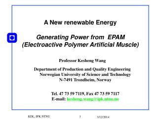 A New renewable Energy  Generating Power from  EPAM Electroactive Polymer Artificial Muscle