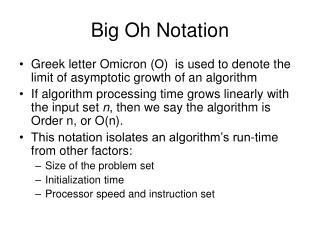 Big Oh Notation