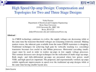 High Speed Op-amp Design: Compensation and Topologies for Two and Three Stage Designs