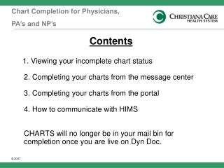 Chart Completion for  Physicians,  PA's and NP's