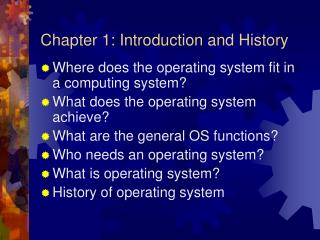 Chapter 1: Introduction and History