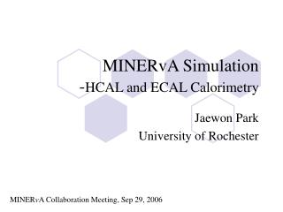 MINERvA Simulation - HCAL and ECAL Calorimetry