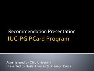 IUC-PG PCard Program