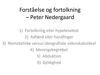 Forståelse og fortolkning  – Peter Nedergaard