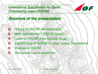 International Specification for Sprint Orienteering maps (ISSOM)