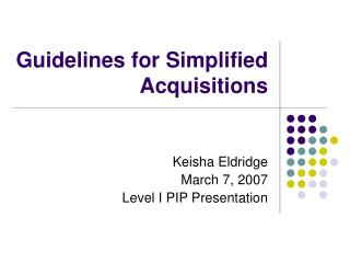 Guidelines for Simplified Acquisitions