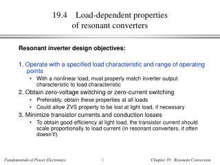 19.4    Load-dependent properties of resonant converters