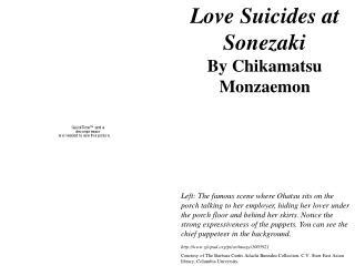 Love Suicides at Sonezaki By Chikamatsu Monzaemon