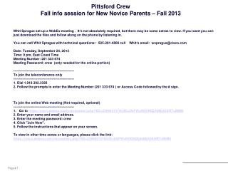 Pittsford Crew Fall info session for New Novice Parents – Fall 2013