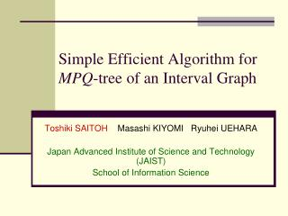 Simple Efficient Algorithm for  MPQ -tree of an Interval Graph