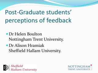 Post-Graduate students' perceptions of feedback