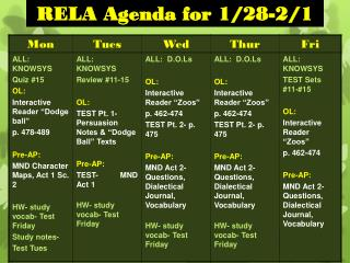 RELA Agenda for 1/28-2/1