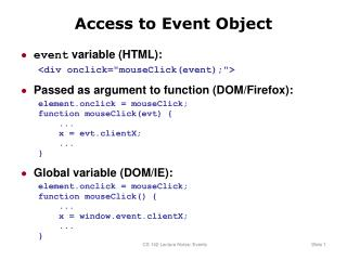 Access to Event Object