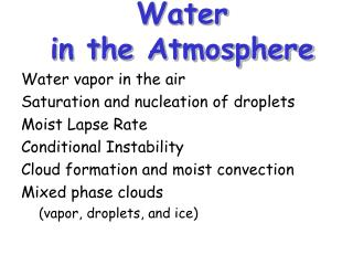 Water  in the Atmosphere