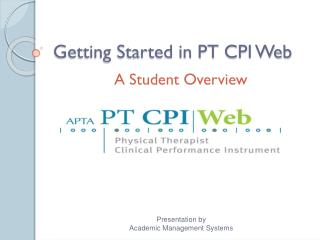 Getting Started in PT CPI Web