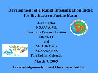 Development of a Rapid Intensification Index for the Eastern Pacific Basin