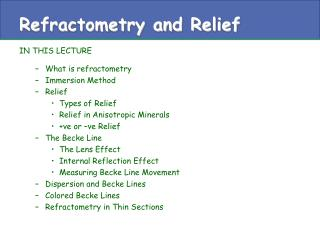 Refractometry and Relief
