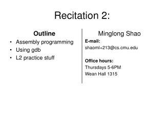 Recitation 2:
