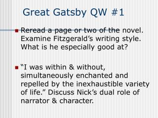 Great Gatsby QW #1