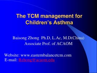 The TCM management for Children's Asthma