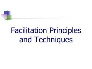 Facilitation Principles and Techniques