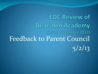 EDC Review of  Bearsden Academy (19-23 November 2012)