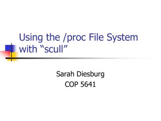 """Using the /proc File System with """"scull"""""""