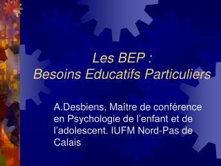 Les BEP :  Besoins Educatifs Particuliers