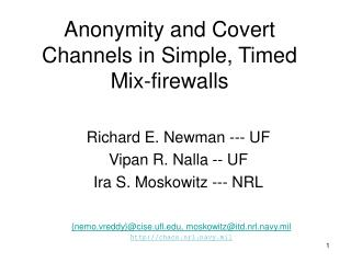 Anonymity and Covert Channels in Simple, Timed Mix-firewalls