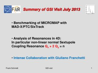 Summary of GSI Visit July 2013