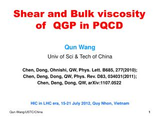 Shear and Bulk  viscosity of  QGP  in PQCD