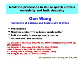 Neutrino process es  in dense quark matter: e missivity and bulk viscosity