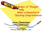 Mosaic of Thought:  What is Essential in Teaching Comprehension