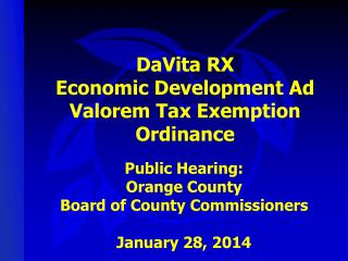 DaVita RX Economic Development Ad Valorem Tax Exemption Ordinance