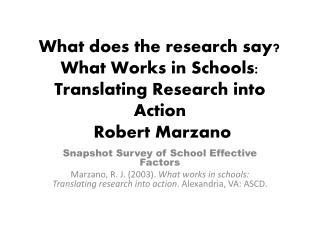 Snapshot Survey of School Effective Factors
