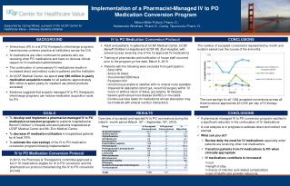 Implementation of a Pharmacist-Managed IV to PO  Medication Conversion Program